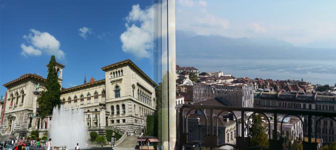 ローザンヌ(Lausanne)と湖眺望のホテルにて