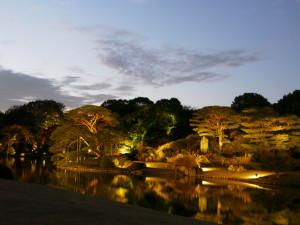 六義園_池の夕暮れ