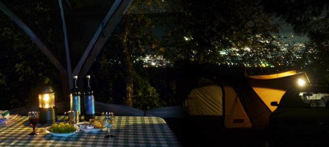 甲府の夜景ビューのキャンプ